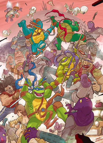 """mutant ninja turtles"" ..art by Oscar Celestini for cereal:geek  (( 2010 ))"