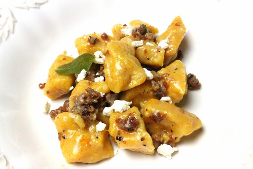 Butternut Squash Ricotta Gnocchi with Crumbled Sausage, Sage and Goat Cheese