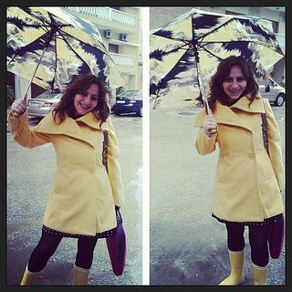 #Dressember | Day 11 #dressember2012 #dress #black #yellow #rain #umbrella #boots