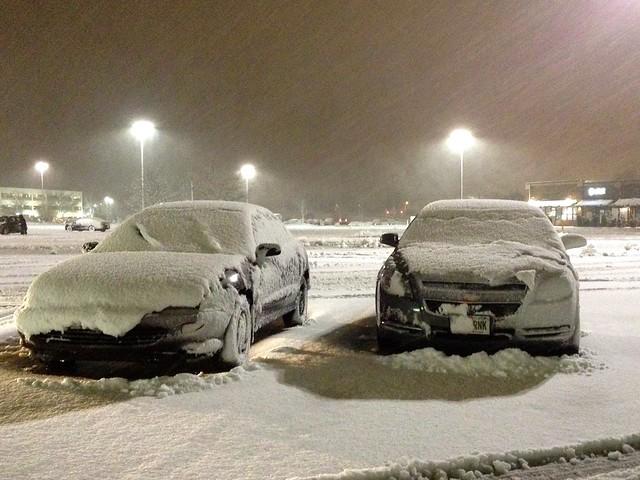Car Snowed In Parking Lot
