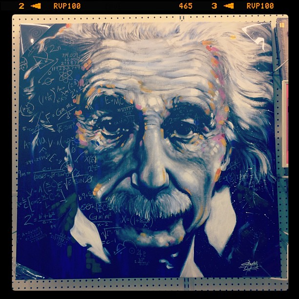 found this gorgeous painting of albert einstein at hobby