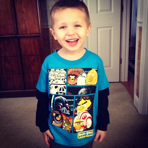So handsome in his new Angry Birds shirt from Aunt Amy!