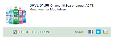 $1.00/1 Act Mouthwash Or Mouthrinse, 16.9oz or Larger Coupon