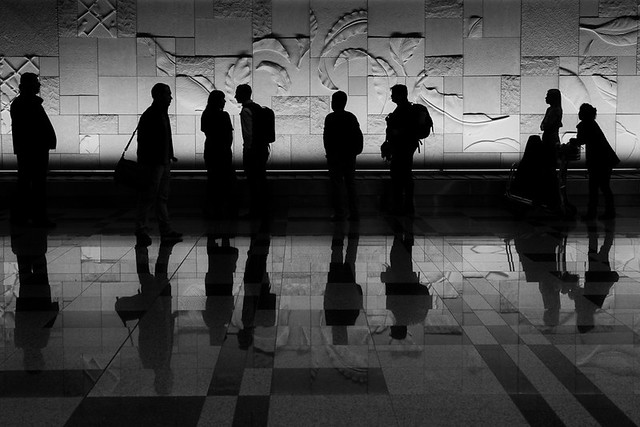 Singapore airport silhouettes
