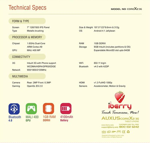 iBerry Auxus CoreX2 3G specifications