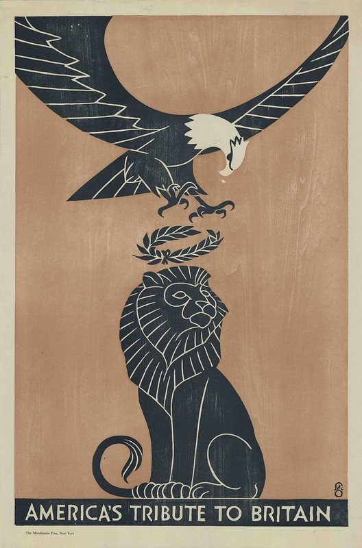 illustration of stylised 'architectural' eagle dropping wreath on lion's head (metaphor)