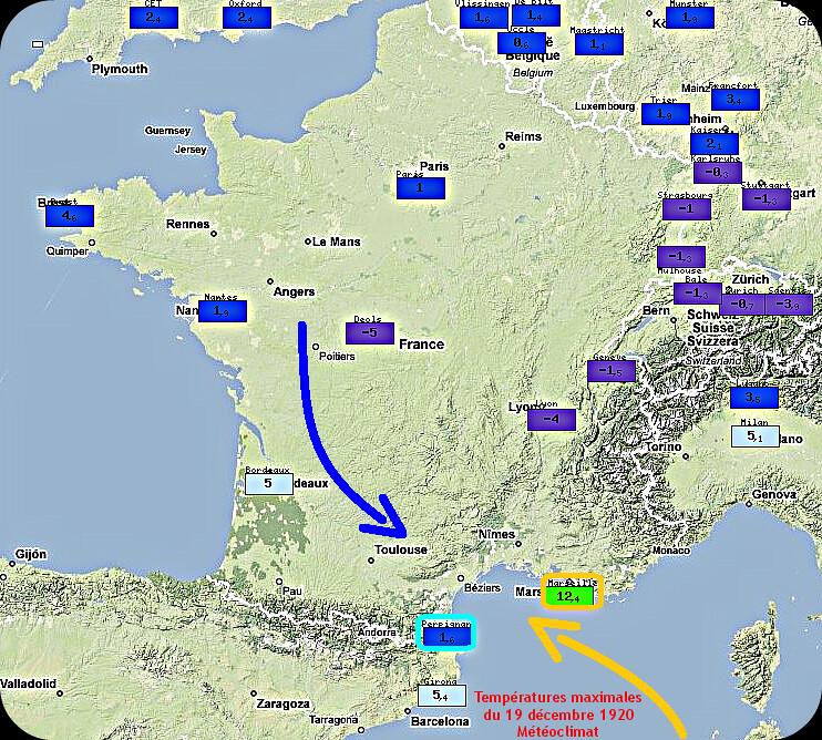 températures maximales et conflit de masses d'air lors du verglas à Narbonne le 19 décembre 1920 météopassion