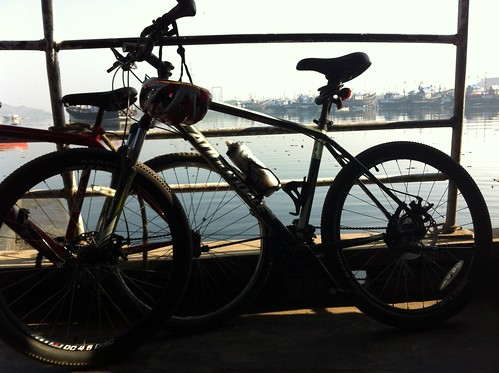 Cycles on ferry back from Madh fort