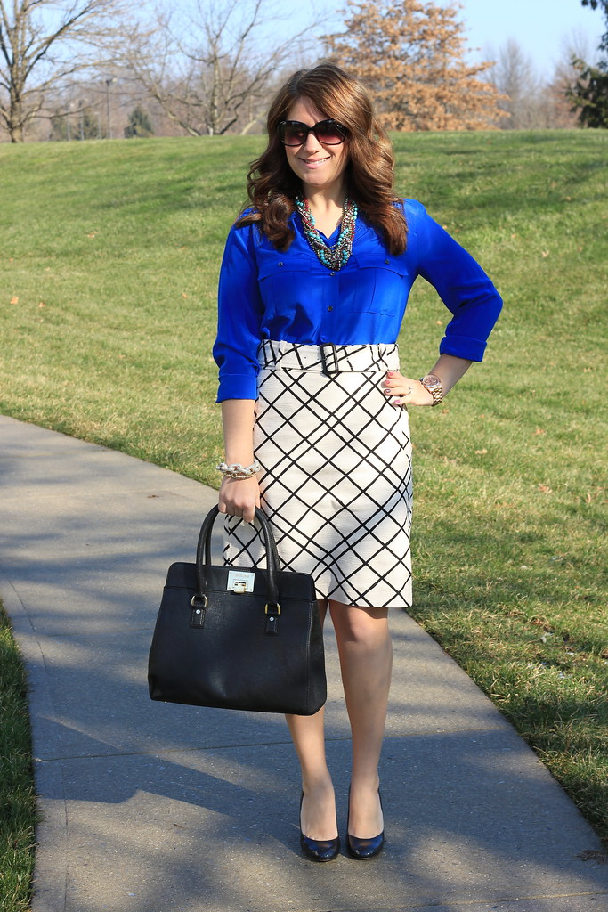 Black and White Graphic Skirt cobalt blouse work outfit