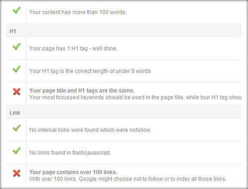 page warning on page seo