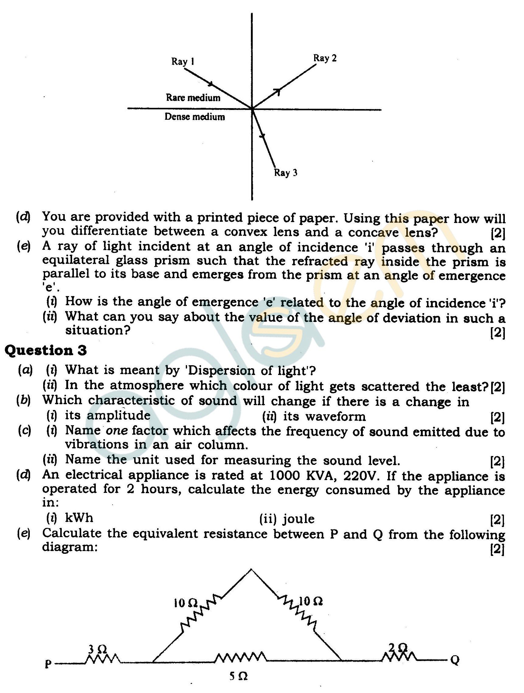 ICSE Class X Exam Question Papers 2012 Physics (Science Paper-1)