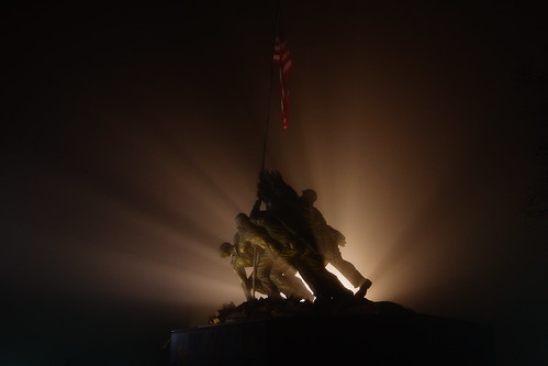 An AMAZINGLY foggy night (at Marine Corps Memorial)