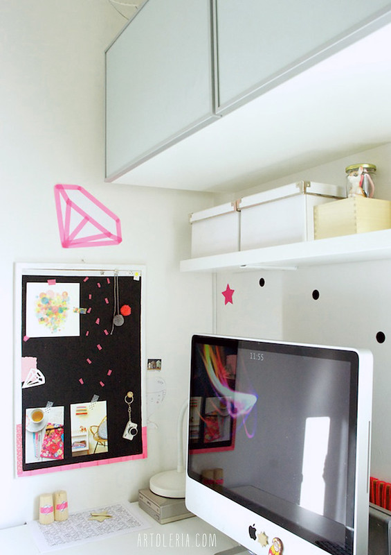 Il mio angolo studio, scrivania e Mac, in salotto