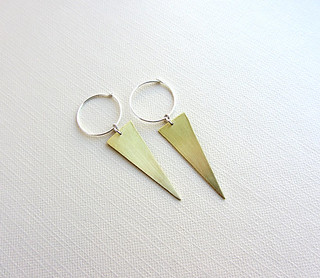 Gold hoop earrings long triangle dagger
