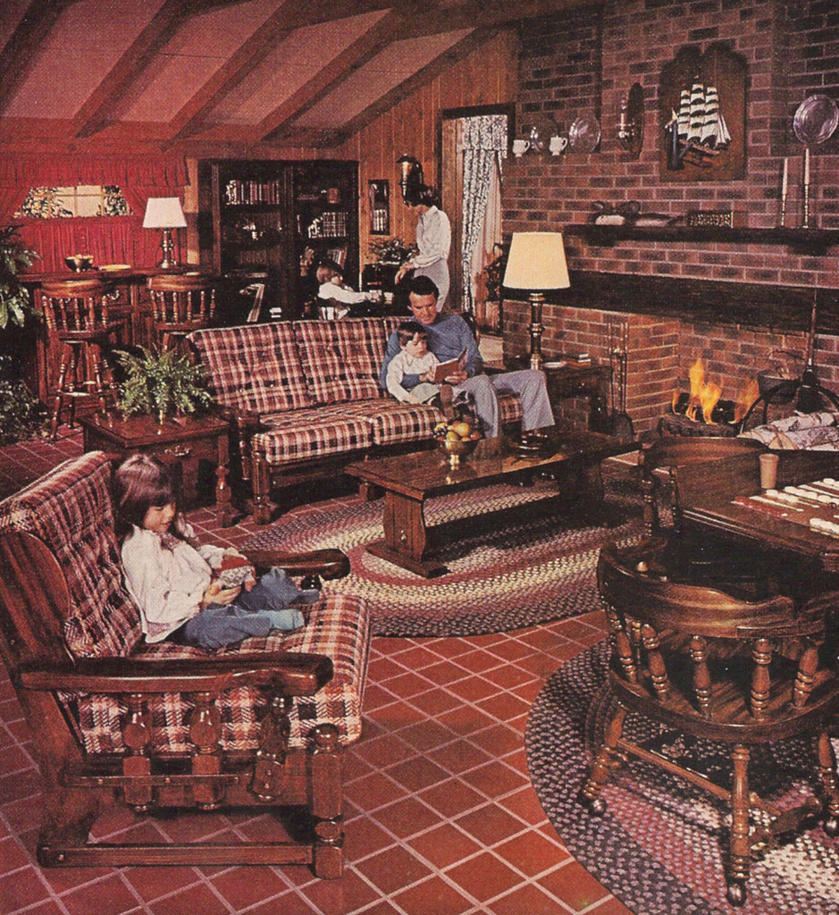 1977 SEARS Open Hearth Family Room Furniture Magazine Ad