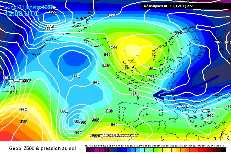 carte de situation de la vague de froid de janvier 1963 météopassion
