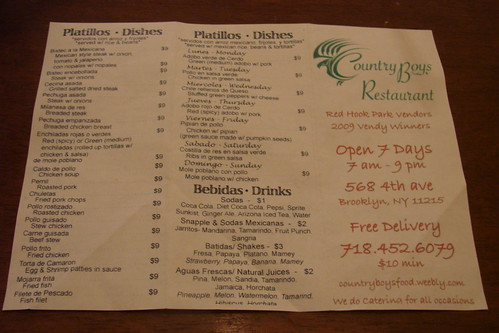 Country Boys restaurant menu