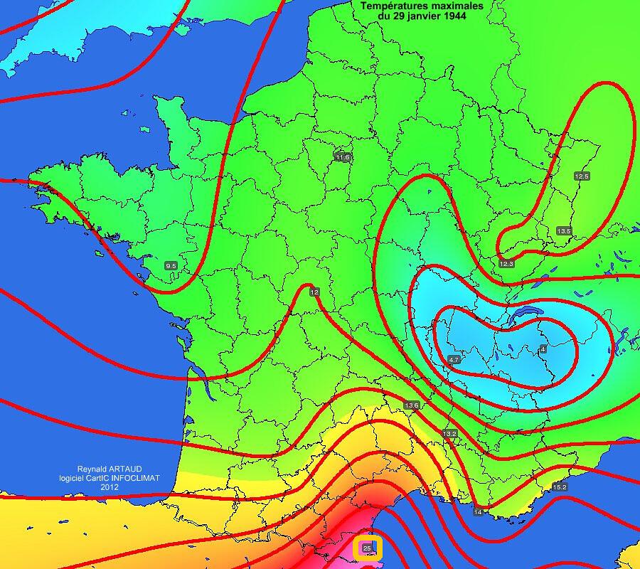 températures maximales et record mensuel de chaleur à Perpignan du 29 janvier 1944 météopassion