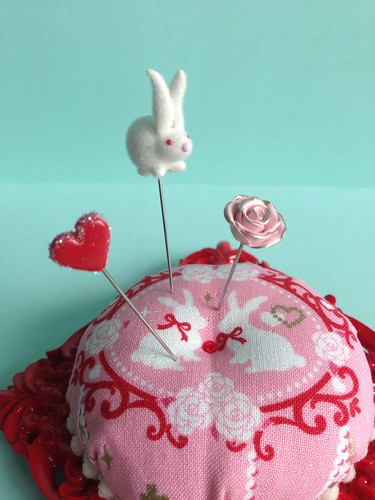 Bunny Love Valentine Pincushion Set by Pinks & Needles (used to be Gigi & Big Red)