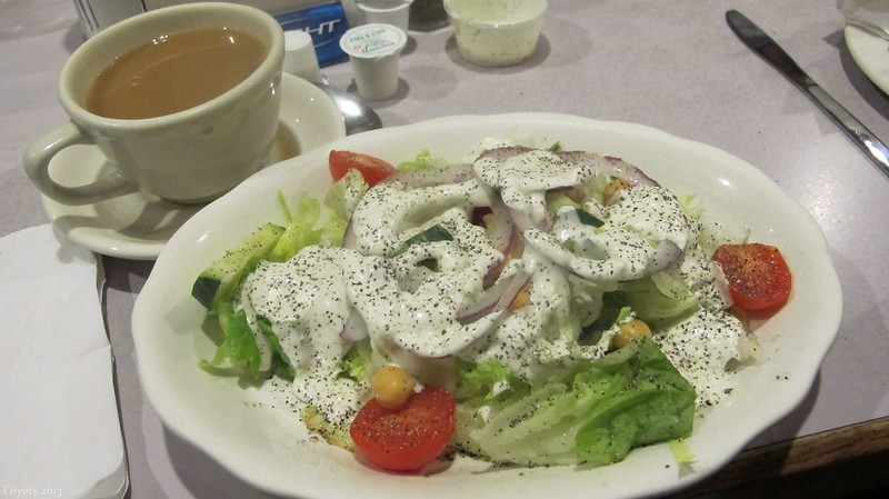 Peppery salad and coffee