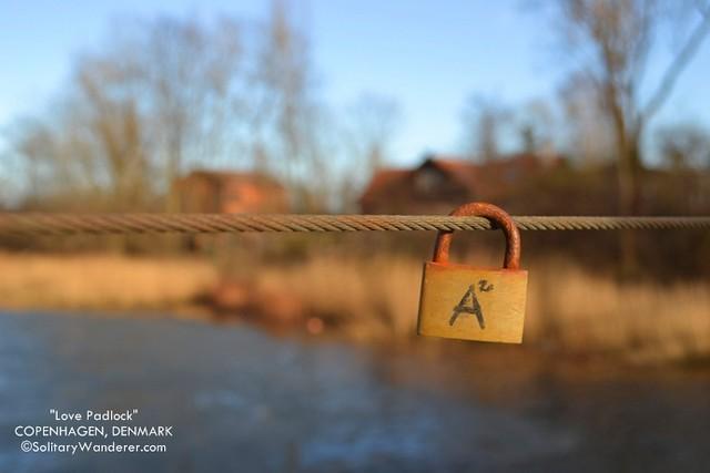 Love padlock in Copenhagen, Denmark