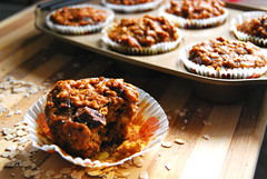 pumpkin oatmeal chocolate chip muffins