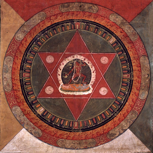 017-Painted 19th century Tibetan mandala of the Naropa tradition, Vajrayogini stands in the center of two crossed red triangles, Rubin Museum of Art