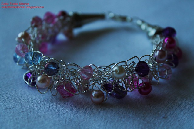 Wire-knitted bracelet