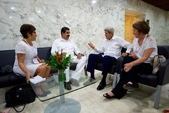 U.S. Secretary of State John Kerry sits with Venezuelan President Nicolás Maduro and their respective translators inside the Cartagena Indias Convention Center in Cartagena, Colombia, on September 26, 2016, at the outset of a bilateral meeting after they both attended a peace ceremony between the Colombian government and the Revolutionary Armed Forces of Colombia (FARC) that ended a five-decade conflict. [State Department Photo/Public Domain]