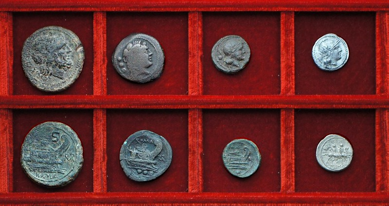 RRC 084 ROMA monogram bronzes, RRC 85 H quinarius, Ahala collection, coins of the Roman Republic