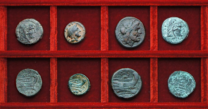 RRC 086 Q bronzes, RRC 86B anchor and Q semis, RRC 86 variety anonymous quadrans, Ahala collection, coins of the Roman Republic