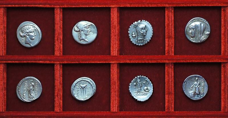 RRC 411, 58BC L.TORQVAT Manlia, RRC 412, 59BC L.ROSCI, RRC 413, 60BC L.CASSI, RRC 410, 52BC Q.POMPONI, Urania, Ahala collection, coins of the Roman Republic