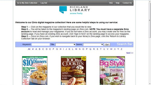Choose a magazine you'd like to read from this screen.  You can search by keyword or browse by title or genre.  Click the magazine to add it to your account.