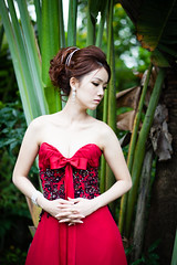 [フリー画像素材] 人物, 女性 - アジア, ワンピース・ドレス, 人物 - 森林 ID:201212221400