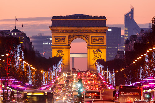 Champs-Elysées avenue with christmas 2012 lights at dusk