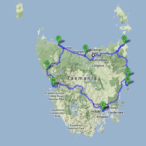 SD 112 Tour de Tassie Map