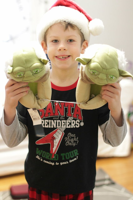 Benjamin and his Yoda slippers from Daddy
