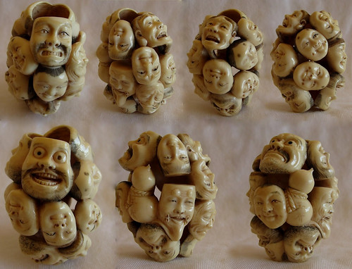 014- Netsuke tallado en marfil, 15 máscaras del teatro Noh. Colección Oñate-via OKIMONO NETSUKE
