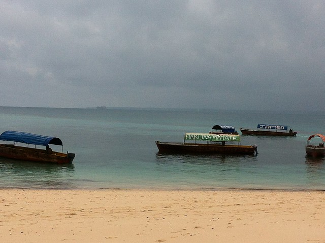 Boats off the shore of Prison Island, Zanzibar
