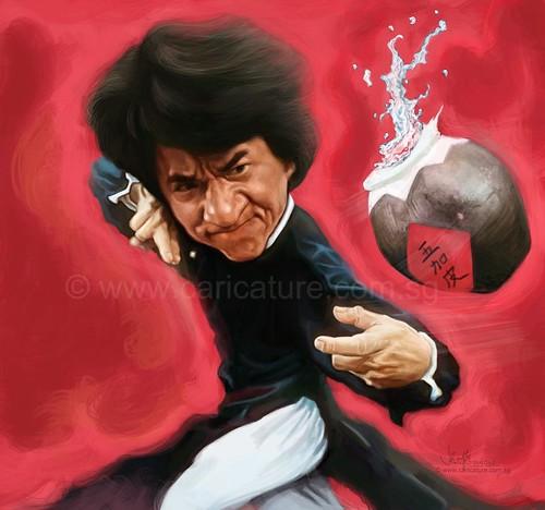 digital caricature sketch of Jackie Chan Drunken Master