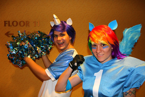 Football Rainbow Dash and Cheerleader Rarity