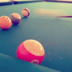 recreation(0.0), carom billiards(0.0), english billiards(0.0), pocket billiards(1.0), indoor games and sports(1.0), sports(1.0), pool(1.0), macro photography(1.0), games(1.0), billiard ball(1.0), circle(1.0), pink(1.0), ball(1.0), cue sports(1.0),