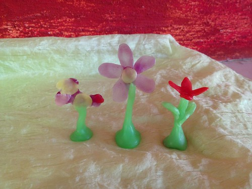 Modeling wax flowers - L to R - Elie's, mine, Yoav's