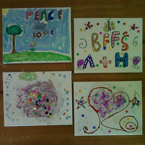 Bug's creations on the left; Annalie's on the right. Re: the top right canvas,  Bug's real name starts with H. :-) @secretagentjo