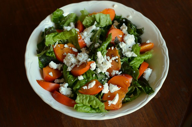 red leaf, goat cheese and persimmon salad