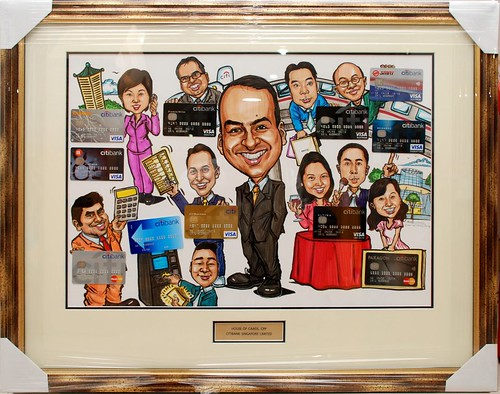 group caricatures for Citibank with frame and metal engraving plate