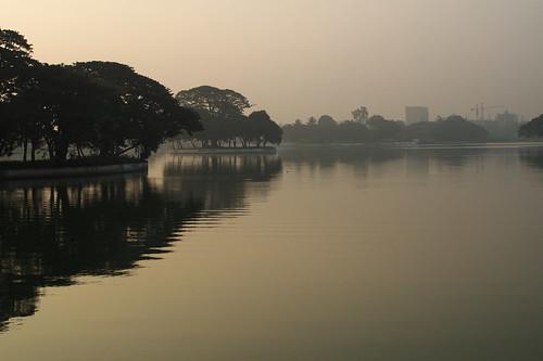 lake reflection water dawn raw ripples ulsoor