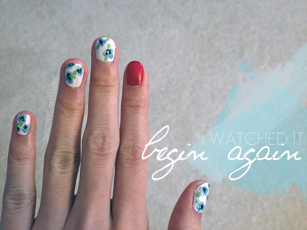 taylor swift inspired nails, begin again by taylor swift, i watched it begin again, zoya rekha, nordstrom b.p. nail polish, pastel polish, red nails, red album, flower nail art tutorial, taylor allison swift