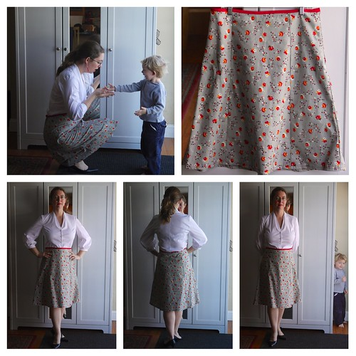 Grey Posie Gored Skirt