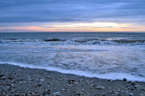 ocean shells seascape beach clouds sunrise coast break tide southcarolina wave atlantic jekaworldphotography jeffrosephotography